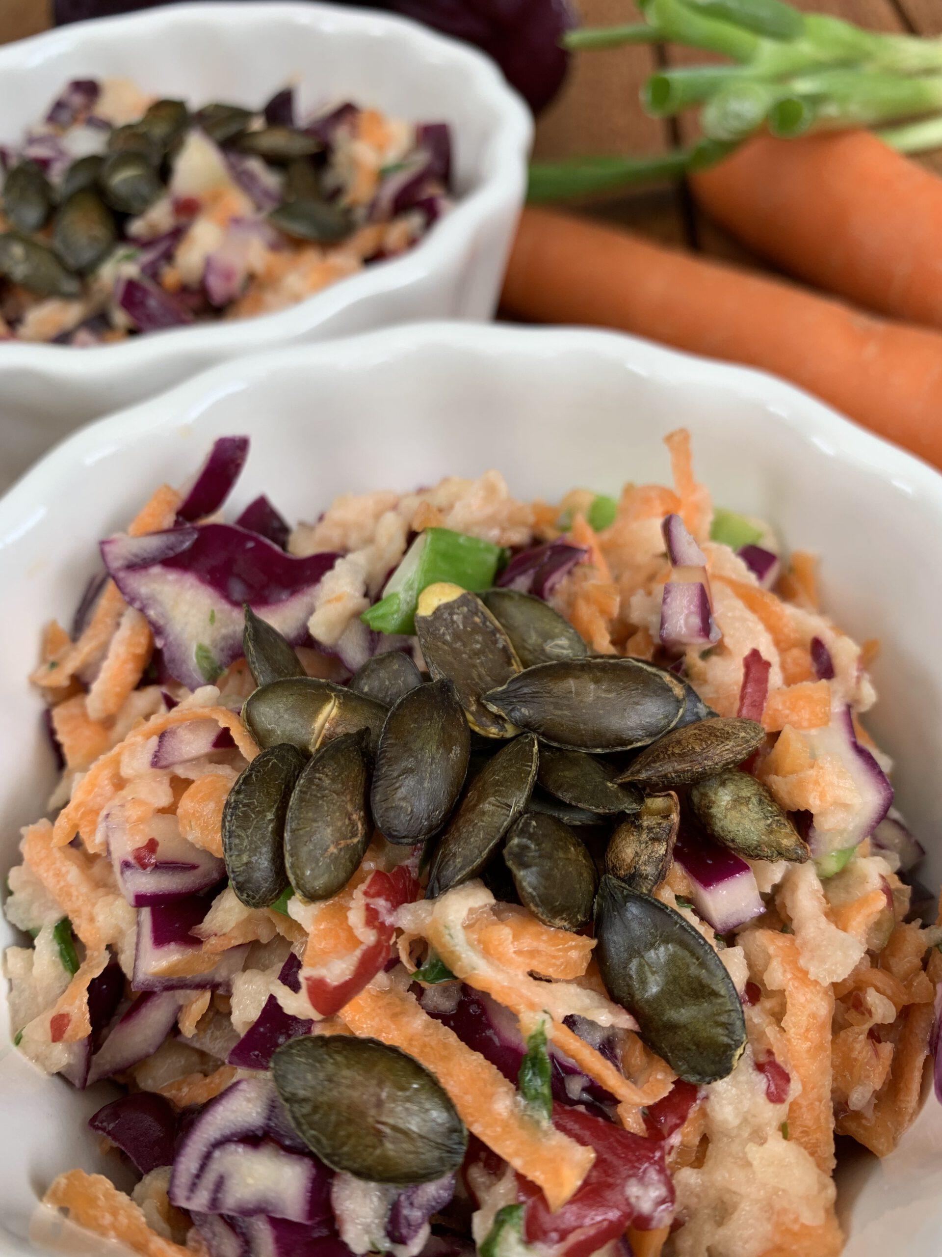 Rotkohl Karotten Apfel Salat